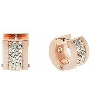 Michael Kors Huggie Rose Gold Crystal Earrings